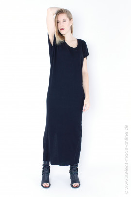 Long dress with short sleeves - black