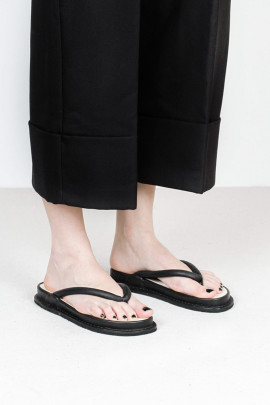 Leather Flip Flops - black - Zori