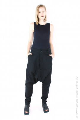 Low crotch stretch pants - black