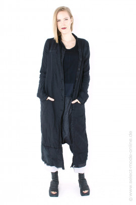 Long linen coat - black