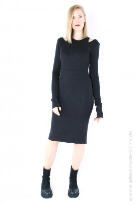 Rib jersey long sleeve dress - black