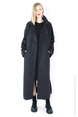 Oversize coat with print - black