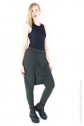 low crotch jersey pants - pine