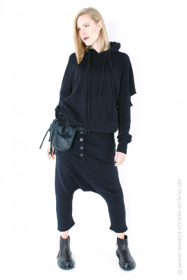 Long Sweater with cutouts - black