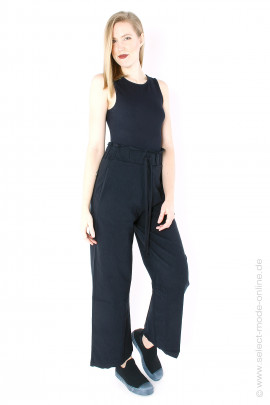 Wide stretch pants - black