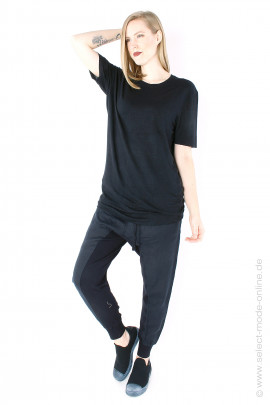 Stretch-linen t-shirt - black