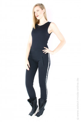 Leggings with light stripes - black