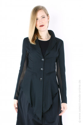 Fitted jacket with tulle - black