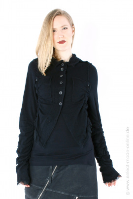 Short wool jacket with tulle - black