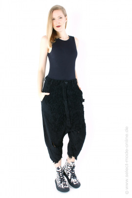 Used-look pants - black