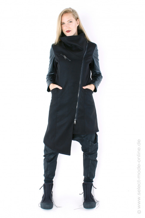 Coat with leather - black